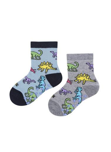 Katia & Bony Dinosaurs 2'Li Bebek Soket Çorap  Gri